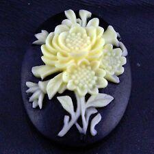 1 Resin Yellow Flower on Black Cameo Cabochon Embellishment
