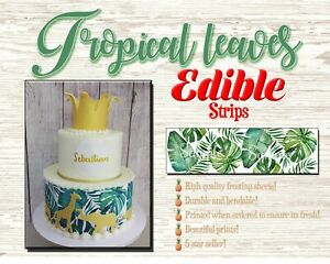 Floral tropical leaf pattern Edible Cake Strips Sugar wrap toppers palm leaves