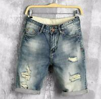 Mens summer denim shorts male jeans jeans shorts denim Hole patch ripped shorts