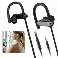 3.5mm Ear Hook Wired Sports Stereo Earphone Over Ear Earbuds Headphones w/Mic