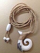 "Spiral - Koru . Hand Carved From Buffalo Bone 1 1/2"" With Adjustable Cord 30"""