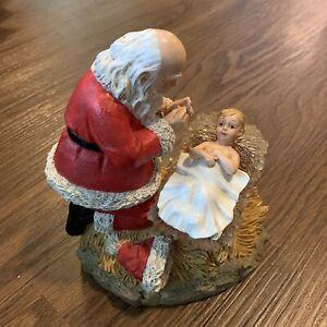 6 Inch Kneeling Santa Claus with Baby Jesus Christmas Figure