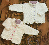 "Baby Cable & Diamond Pattern Cardigans  Lace Edging 16"" -26"" DK Knitting Pattern"