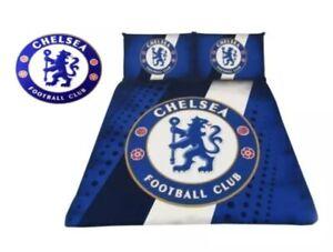 NEW CHELSEA STRIPE DOUBLE FC DUVET SET QUILT COVER FOOTBALL BEDDING