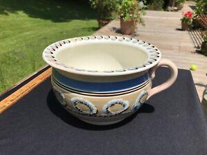 Antique Mocha Ware Chamber Pot Cats Eye Earthworm Pearlware Staffordshire