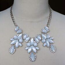 Beautiful White Plastic Rhinestone Silver Tone Setting Necklace