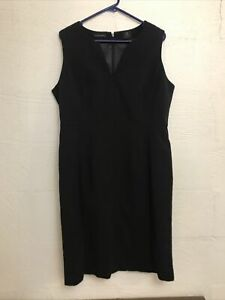 David Lawrence Black Straight Pencil Lined Dress Plus Size 16 Lined Corporate