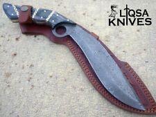 CUSTOM HANDMADE DAMASCUS STEEL KUKRI KNIFE SWORD HAND TOOLED LEATHER SHEATH