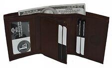 Mens Trifold Genuine Leather RFID Blocking Wallet Black New