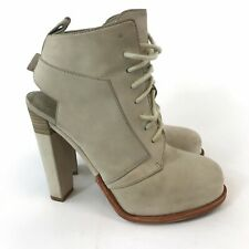 Alexander Wang Tan Nubuck Leather Ankle Lace Up High Open Heels Boots 37 UK4