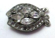 Antique Vintage Rhinestone White GT Trim Pendant Bracelet or Pearl Clasp #C209