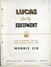 Lucas MORRIS 6 Electrics Cars Equipment & Spare Parts Oct 1949 #CE475
