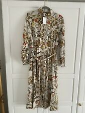 H&M Women's Floral Midi Shirt Dress With Tie Belt SIZE 14 BRAND NEW