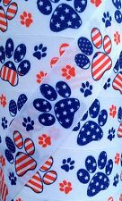 """5 Yards 1.5"""" PATRIOTIC STARS AND STRIPES DOG PUPPY PAW PAWS GROSGRAIN RIBBON"""