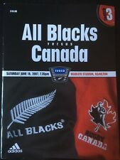 3071 - Canada 2007 tour v New Zealand Rugby Programme 16th June 16/06/2007 Jun