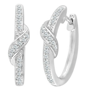 Jewelco London 9ct White Gold Diamond Crossover Hoops