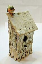 """Primitive Old Handcrafted 8"""" Tall Birch Bark Tree Wood Bird House Free S/H"""