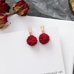 3 Designs of Ladies Crochet Pom Pom Stub Earrings 925 Silver Pin Jewellery Gift