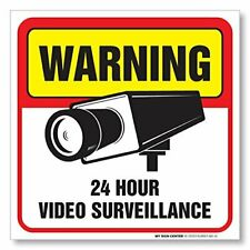 (4 Pack) Warning 24 Hour Video Surveillance Sign - Made in Usa - 5 ½� X 5 ½�.