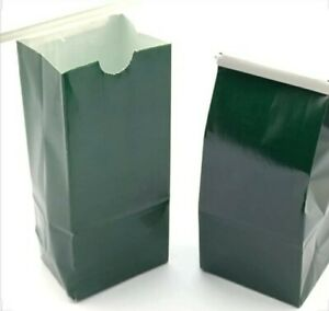 "250 Pack ½ lb Green Tin Top Tie Paper Coffee Bags 3 ⅜"" x 2 ½"" x 7 ¾"" Craft"