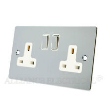 Polished Mirror Chrome Flat Socket 2 Gang - 13 Amp Double 2G Plug Outlet Point