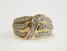 Domed Ring Right Hand Ring Size 7 New Without Tags 14K Yellow Gold .50ct Diamond