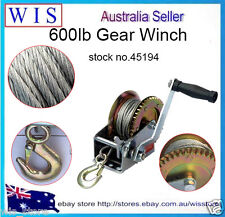 600LBS Hand Winch Hand Crank Gear Winch ATV Boat Trailer,8m Steel Cable & Hook