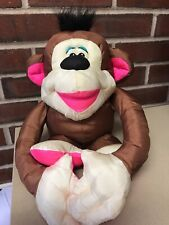 "Vintage 1994 Fisher Price Puffalump Pink Monkey Chattering Chimps Plush 12"" Toy"