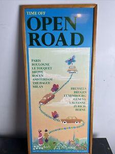 Vintage Travel Agent Advertising  Poster Framed  Time Off Open Road 74cmx33cm