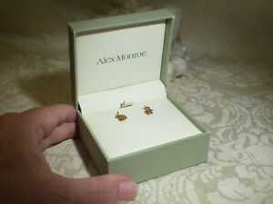 Alex Monroe 22ct Gold Plated Solid Silver Sitting Bunny Rabbit Stud Earrings Box