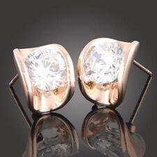 18K Rose Gold GP Austrian Crystal Cute AAA zircon CZ earrings Studs E464c