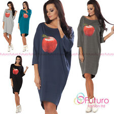 Womens Oversized Asymmetric Dress Apple Print 3/4 Sleeve Tunic Size 8-18 FT2190