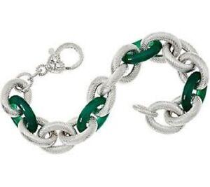 "QVC Judith Ripka 7-1/4"" Veronoa Gemstone Link Sterling Bracelet 35.8g $899"
