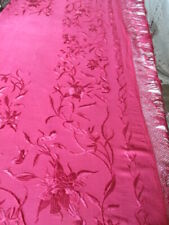 Stunning Antique Embroidered Silk Piano Shawl. c1920. Cherry Red. Deep fringe