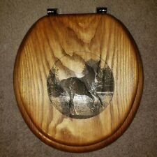 toilet seat  decorative round wood  horse picture