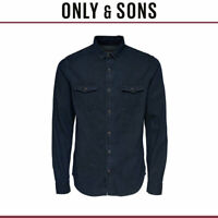 Only & Sons Mens Boye Long Sleeve Slim Denim Shirt with chest Pockets RRP £35