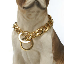 NEW Strong 15mm Gold Tone Cut 316L Stainless Steel Dog Chain Collar 24""