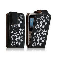 Housse coque étui pour HTC ChaCha motif fleur couleur noir