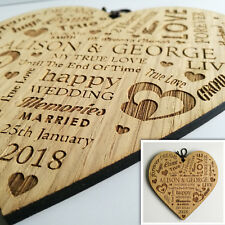Large Wedding Present Wooden Heart Plaque Personalised Word Art Marriage