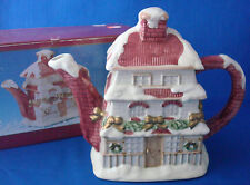 vintage Christmas Dickens Village House teapot Windsor Collection porcelain