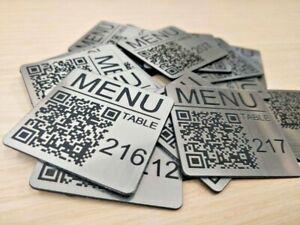 Set of 10 Custom QR Code 50mm Square Laser Engraved Tags, Pub Menu, Restaurant
