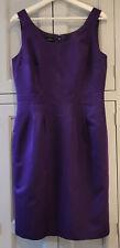 Hobbs 12 Purple Lined Sleeveless Scoop Neck Fitted Silk Mix Madmen Dress VGC