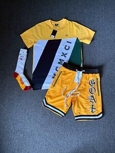 Men's 2PC Outfit T-Shirt & Shorts Yellow Track Set+FREE SOCKS S-XL