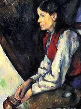 Paul Cezanne garçon avec gilet rouge OLD MASTER ART PAINTING imprimé Poster 2048oma