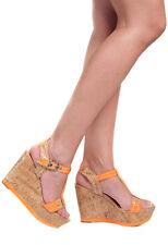 Women Orange Summer Strappy Cork Wedge Platform High Heel Sandals Size 3,4,7