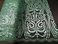 Sequin MINT Damask Mesh Polyester Lace Large Print Fancy angel dress fabric