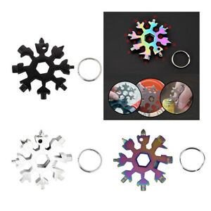 18 In 1 Stainless Steel Snowflake Shape Multi-Tool Screwdriver with Keychain