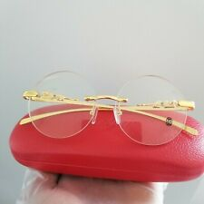 Cartier Gold Rimless Frame Clear Glasses 100% Authentic