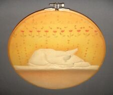"Vintage White Sleeping Cat Themed Dyed Silk Screen 10.5"" Picture"