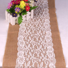 30*108cm Vintage Burlap White Lace Hessian Wedding Table Runner Natural Jute BD